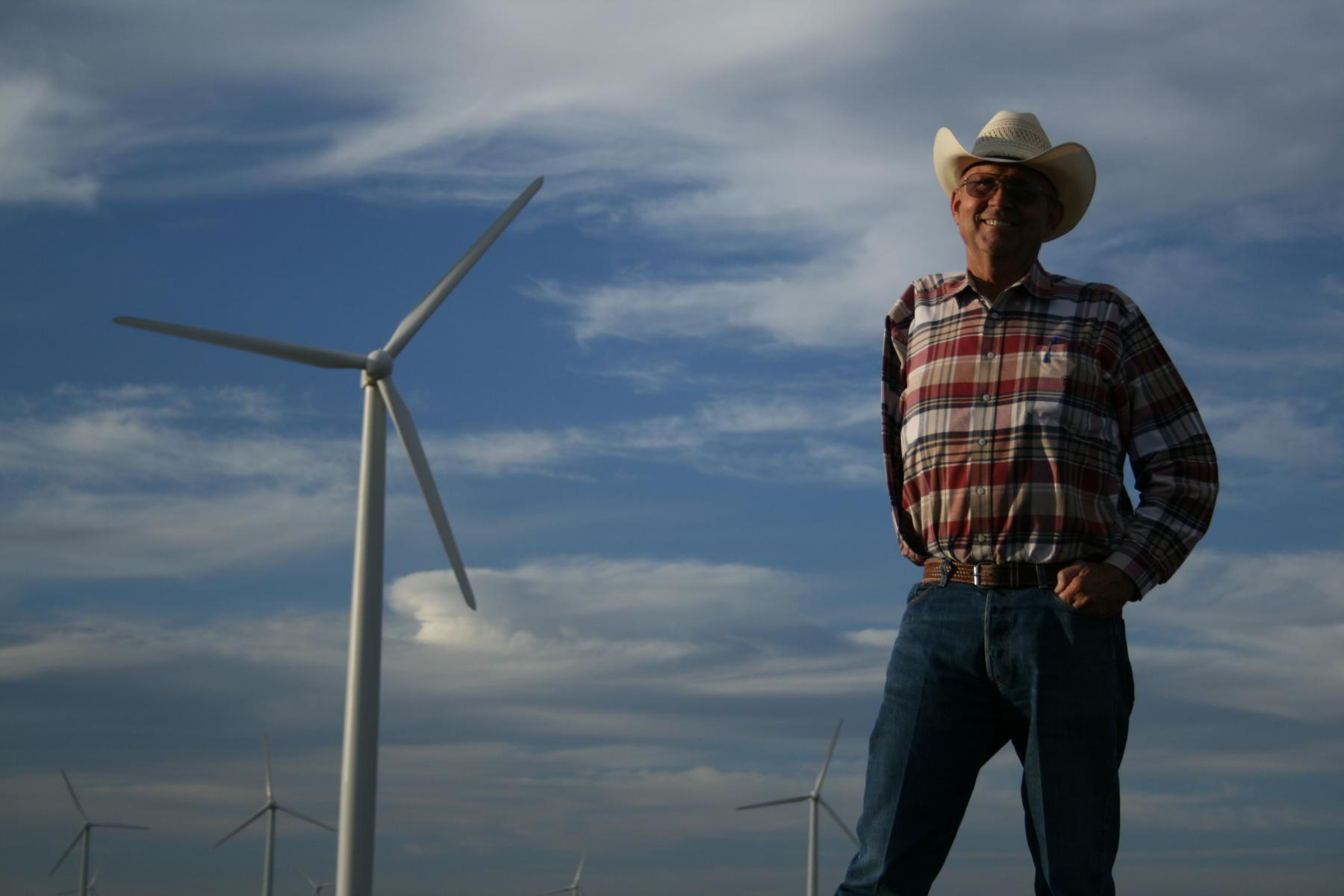 From Carbon Nation: Cliff Etheredge, West Texas Wind Farmer. Photo by Peter Byck.